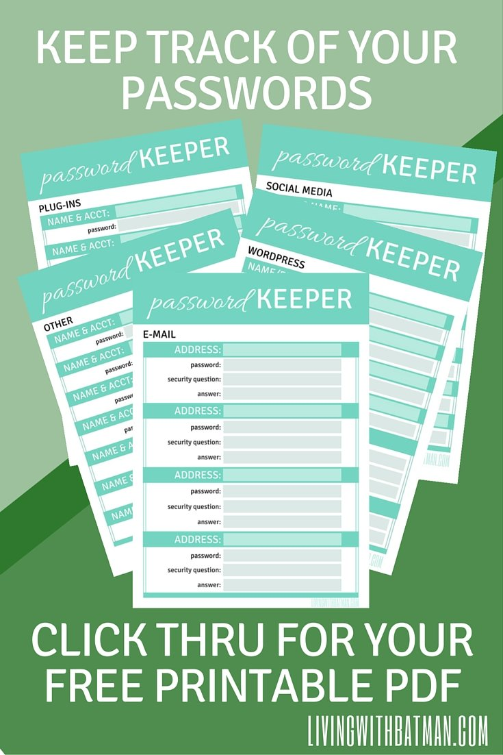 Keep track of all your passwords with the free pdf download. Be sure to add it to your blog binder or journal.