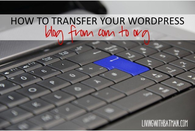 How to transfer (migrate) your wordpress blog from .com to .org on your own. Step by step outlined with pics. I did it on my own and so can you!