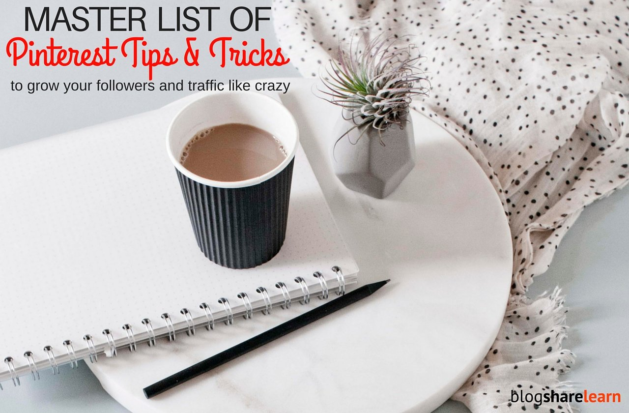 Are you struggling with Pinterest? Want to grow your Pinterest followers and drive traffic like crazy to your blog? Pinterest is a very powerful social media tool. I have grown my Pinterest account to 5,000 followers in six months and Pinterest drives 1,000's of refers to my blog daily. Here is my master list of 65 Pinterest tips & tricks that can yield you the same results.