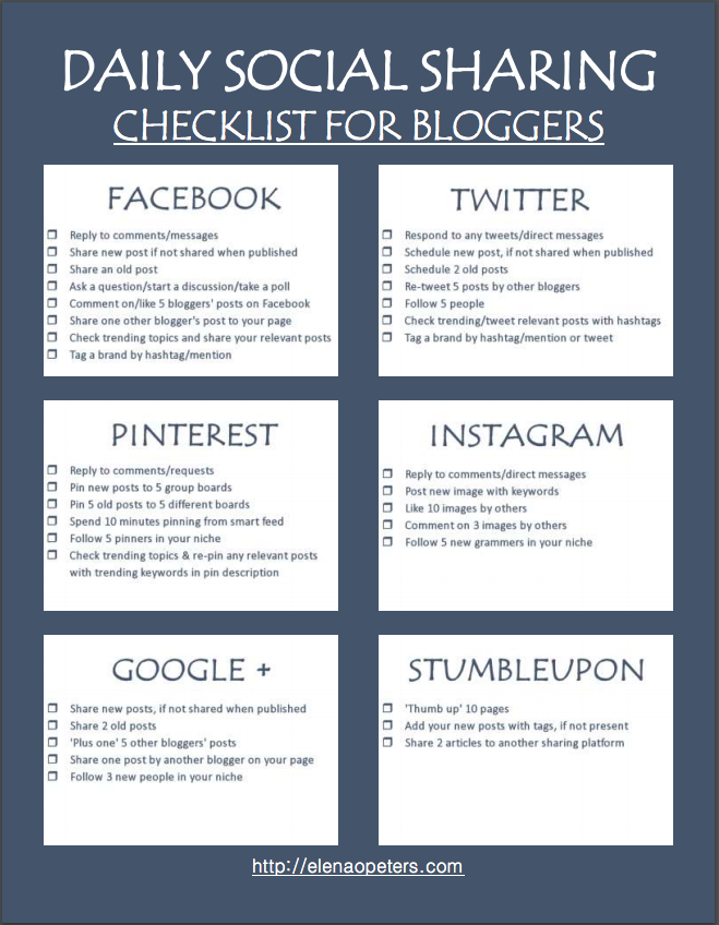 The biggest reason that most bloggers fail at their social media strategy is that they are not focused or consistent. Honestly, stop reading all the posts about what you should do and just make a plan for yourself and stick to it for 30 days. The above checklist will not only help you stay on track, it will also save you a ton of wasted, empty time on social media.